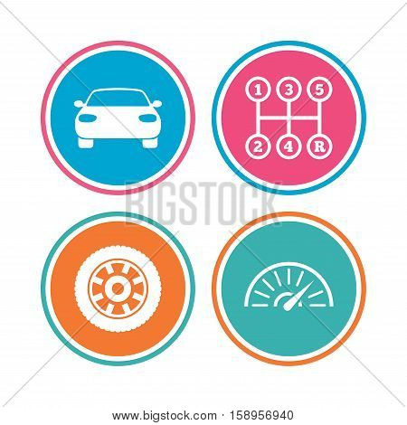 Transport icons. Car tachometer and mechanic transmission symbols. Wheel sign. Colored circle buttons. Vector