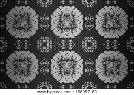 retro abstract symmetrical pattern monochrome black and white art deco