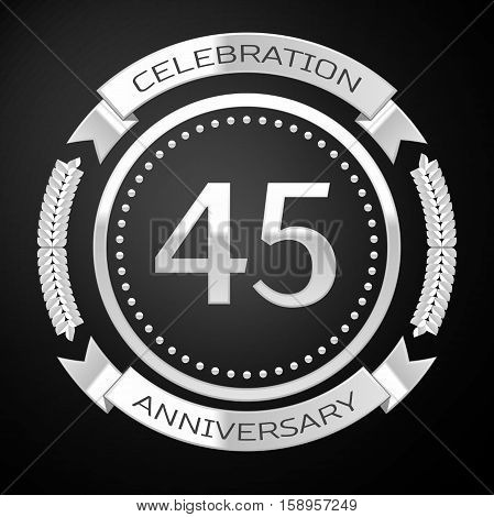 Forty five years anniversary celebration with silver ring and ribbon on black background. Vector illustration