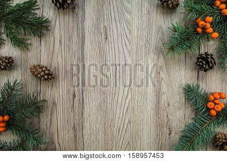 Christmas Wooden Background With Natural Decoration. Flat Lay, Top View