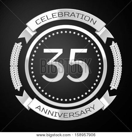 Thirty five years anniversary celebration with silver ring and ribbon on black background. Vector illustration