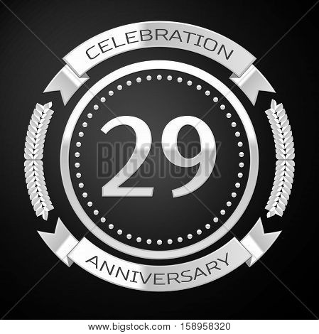 Twenty nine years anniversary celebration with silver ring and ribbon on black background. Vector illustration