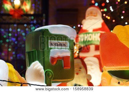 Santa's mailbox in front of Santa's workshop