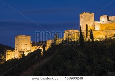Panoramic night view of Alhambra, Granada, Spain
