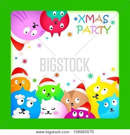 Christmas party card with colorful funny cats