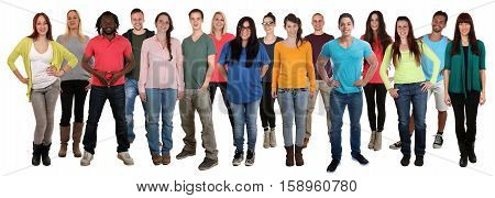 Large Group Of Smiling Standing Young People Happy Multi Ethnic