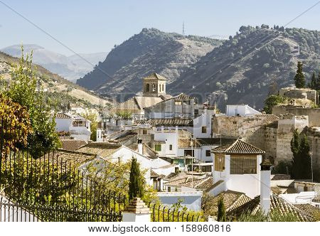 Roofs overview of Granada, in Andalusia Spain