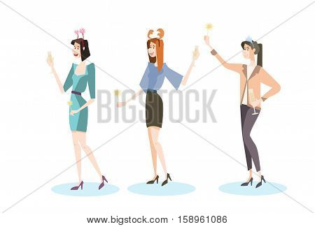Businesswoman Group Celebrate Merry Christmas And Happy New Year Business People Team Santa Hat Flat Vector Illustration