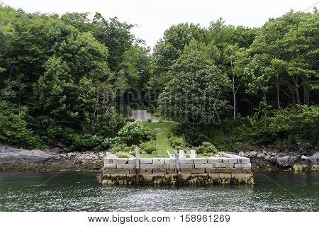 Stone pier makes pleasant relaxation spot on Diamond Cove