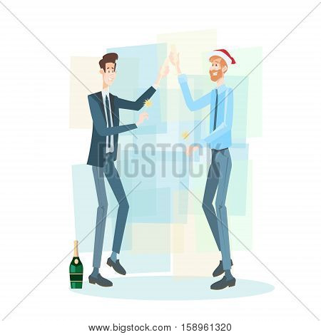 Businessman Group Celebrate Merry Christmas And Happy New Year Business People Team Santa Hat Flat Vector Illustration