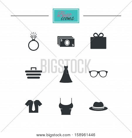 Accessories, clothes icons. Shirt with tie, glasses signs. Dress and engagement ring symbols. Black flat icons. Classic design. Vector