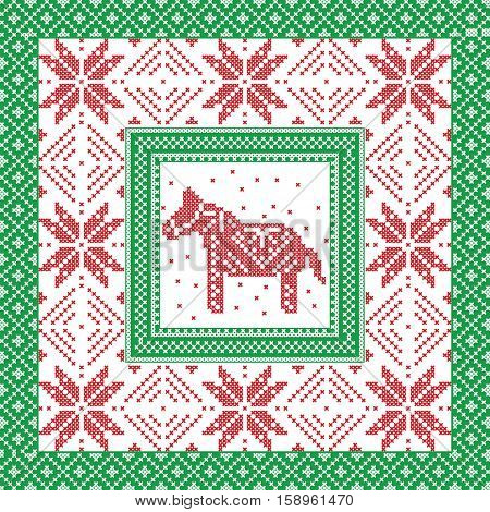 Scandinavian style and Nordic culture inspired Christmas and festive winter square pattern in cross stitch style with Swedish style Dala horse, snowflake, star, decorative ornaments in red, green