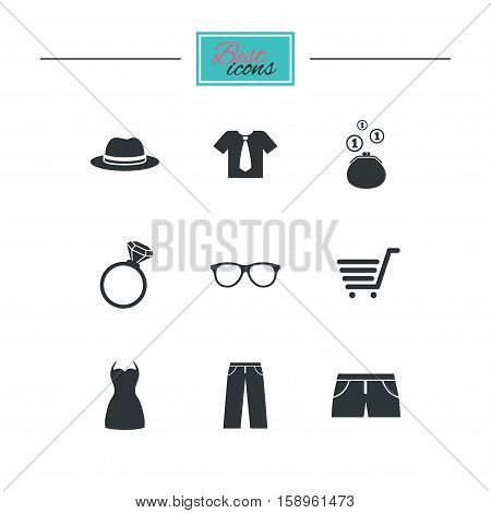Clothes, accessories icons. Shirt, glasses and hat signs. Wallet with cash coins symbols. Black flat icons. Classic design. Vector