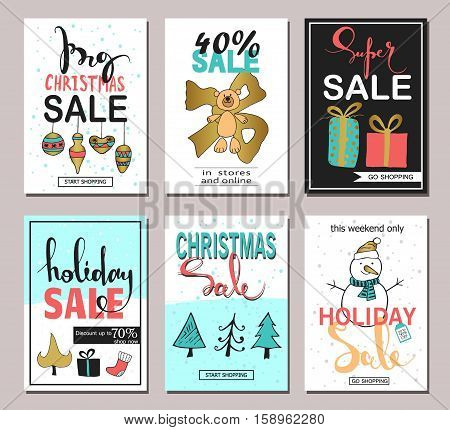 Set Of Creative Sale Holiday Website Banner Templates Christmas And New Year Hand Drawn Illustrations