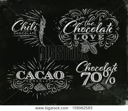 Chocolate labels collection in vintage style lettering chocolate love chili cacao 70 drawing on black watercolor background