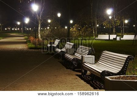 White benches and streetlamp in the park night time.