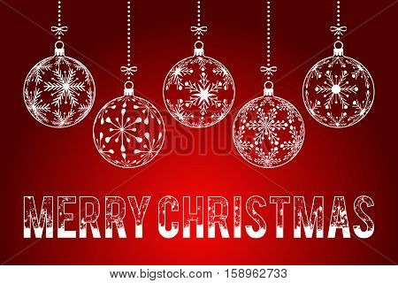 christmas background holiday greeting card with snowy outlined text Merry Christmas on dark red background christmas balls created with snowflakes pattern