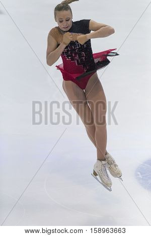 Minsk Belarus -November 19 2016: Unidentified Female Figure Skater performs Ladies Free Skating Program at Ice Star International Figure Skating competition in November 19 2016 in Minsk Republic of Belarus