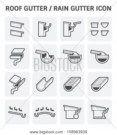 Roof gutter or rain gutter for drainage system vector icon set design.