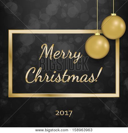 Merry Chistmas 2017 gold and black collors. Vector illustration.
