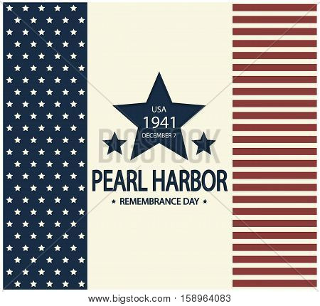Pearl Harbor remembrance day card or background illustration.