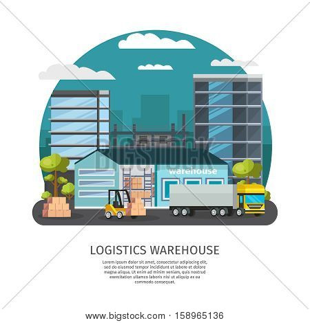 Warehouse logistics design including storehouse with shelves and truck forklift with goods city buildings vector illustration
