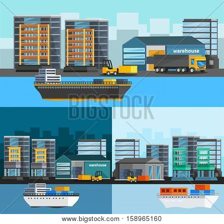 Sea port orthogonal compositions set with freight ships and harbor buildings truck and loader isolated vector illustration