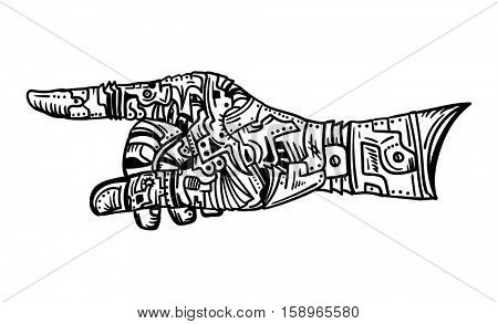 vector - mechanic hand gesture - isolated on background