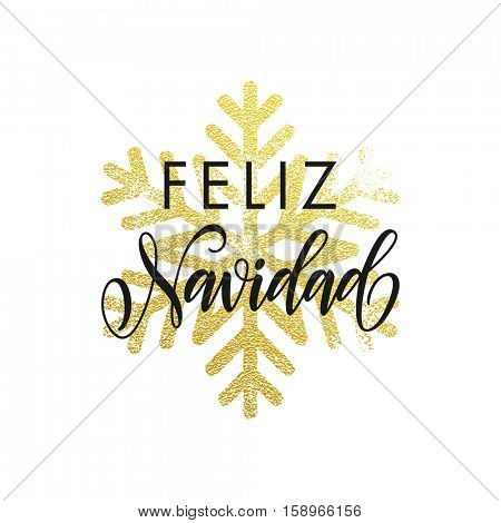 Feliz Navidad greeting card with golden snowflakes. Merry Christma poster in Spanish language. Decoration ornament of gold glitter on black background