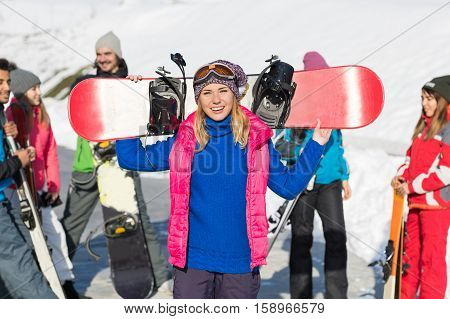 Woman With Snowboard Group Of People Ski Snowboard Resort Winter Snow Mountain Friends Talking Holiday Extreme Sport Vacation