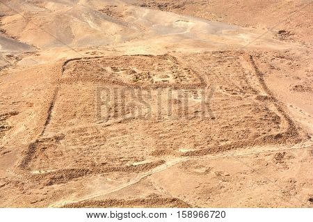 Remnants of Roman Camp one of several legionary camps just outside the circumvallation wall of Masada. The siege of Masada was 1 of the final events in the 1st Jewish Roman War