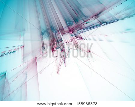 Abstract background element. Three-dimensional composition of wave shapes, grids and beams. Science and technology concept. Blue, red and black colors.