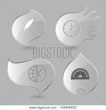 4 images: feather,  globe and clock, protractor. Education set. Glass buttons on gray background. Fire theme. Vector icons.