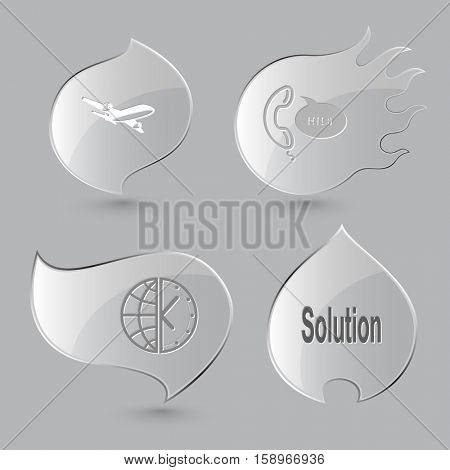 4 images: airliner, support, globe and clock, solution. Business set. Glass buttons on gray background. Fire theme. Vector icons.