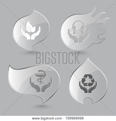 4 images: life in hands, headphones, pharma symbol, protection nature. In hands set. Glass buttons on gray background. Fire theme. Vector icons.