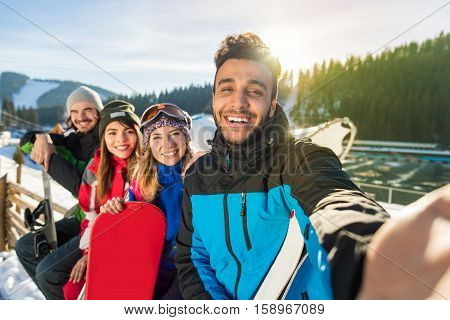 Group Of People Ski Snowboard Resort Winter Snow Mountain Smiling Friends Taking Selfie Photo Holiday Holiday Extreme Sport Vacation
