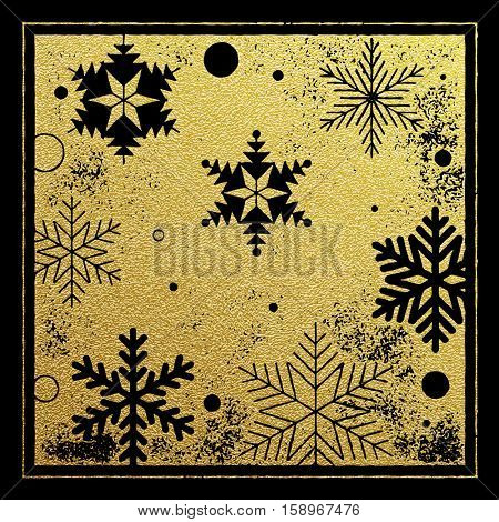 Gold glitter snowflakes background pattern for Christmas card. Golden foil gilding with engraving for festive decorative Christmas or New Year gift wrapping paper or greeting