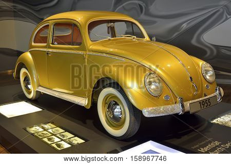 Wolfsburg, Germany - April 15, 2016. Volkswagen Kafer car from 1955 on display at Autostadt museum in Wolfsburg, with Swarowski crystals.