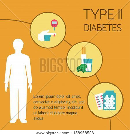 Diabetes Vector illustration Treatment of the second type of diabetes Flat design
