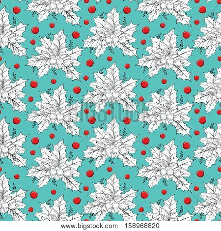 Vector seamless pattern with contour leaves and red berries of Ilex or European Holly on the turquoise background. Traditional Christmas and Happy New Year symbol in line art style for winter design.