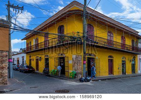SANTO DOMINGO, DOMINICAN REPUBLIC - CIRCA NOVEMBER 2015: Typical streets in downtown of Santo Domingo in November 2015, Dominican Republic.