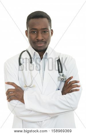 African-American Medical doctor man isolated white background.