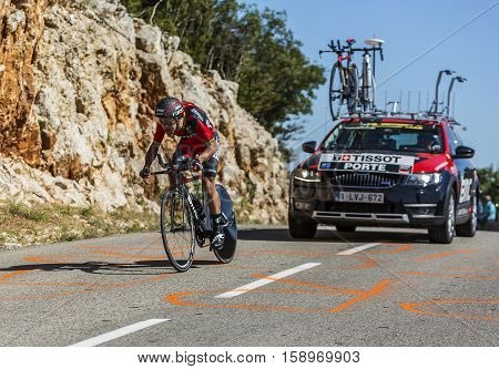 Col du Serre de TourreFrance - July 152016: The Australian cyclist Richie Porte of BMC Racing Team riding during an individual time trial stage in Ardeche Gorges on Col du Serre de Tourre during Tour de France 2016.