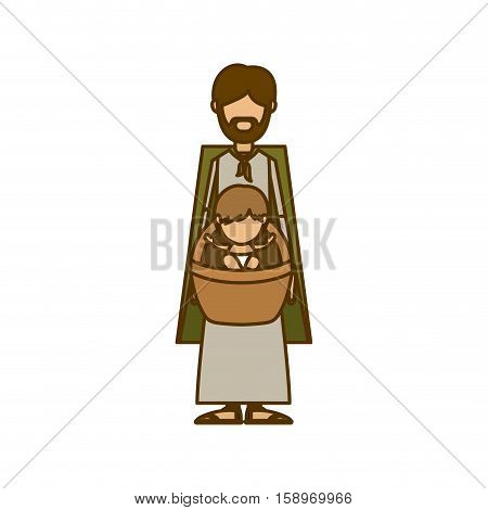 Holy joseph and baby jesus icon. Nativity merry christmas season and decoration theme. Isolated design. Vector illustration