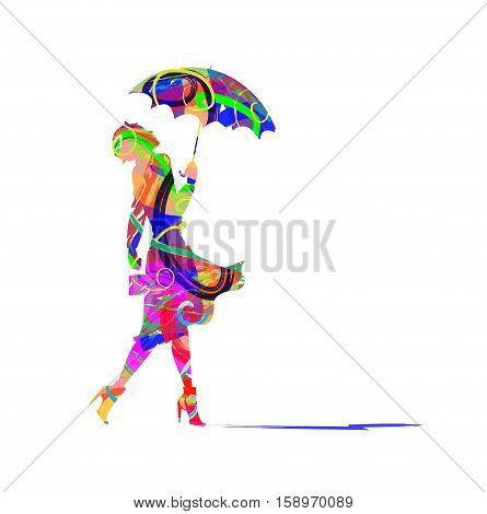 abstract woman and umbrella on white background