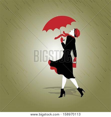 woman and umbrella in the rain illustration