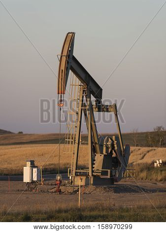 A pumping oil well in North Dakota