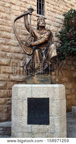 JERUSALEM ISRAEL 26 10 16: Statue of King David on Mount Zion. New Evidence Indicates That King David Was Actually Buried In The Southeastern Area Of Jerusalemâ??s Real Old City