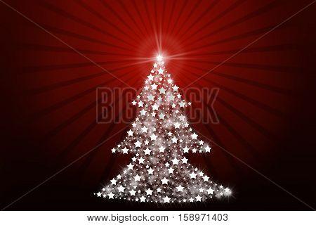 Stylized Christmas tree on dark red background