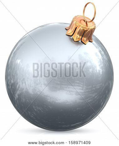 Christmas ball white bauble silver New Year's Eve decoration shiny wintertime hanging adornment sphere souvenir. Traditional ornament happy winter holidays Merry Xmas symbol closeup. 3d illustration
